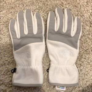 White North Face fleece gloves women's size small
